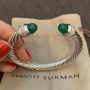 David Yurman Bracelet Green Onyx Diamonds 7mm